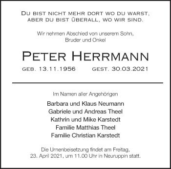 Anzeige Peter Herrmann