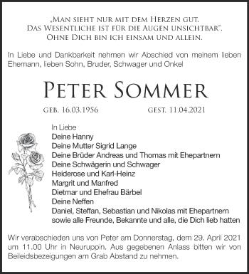 Anzeige Peter Sommer