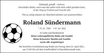 Anzeige Roland Sündermann