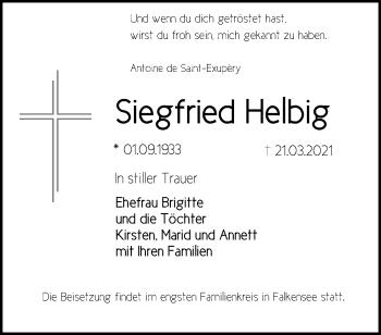 Anzeige Siegfried Helbig