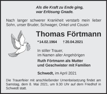 Anzeige Thomas Förtmann