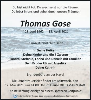 Anzeige Thomas Gose