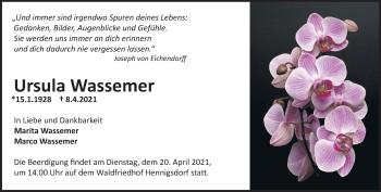 Anzeige Ursula Wassemer