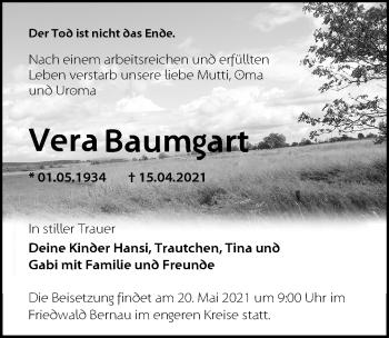 Anzeige Vera Baumgart