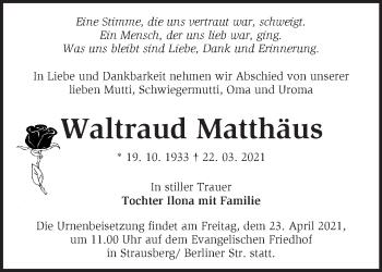 Anzeige Waltraud Matthäus
