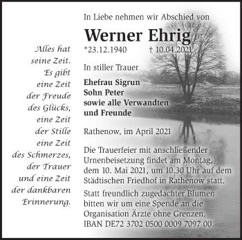 Anzeige Werner Ehrig