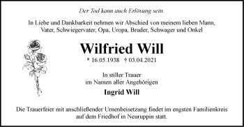 Anzeige Wilfried Will