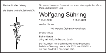 Anzeige Wolfgang Sühring