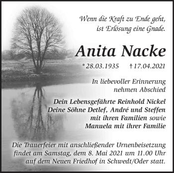 Anzeige Anita Nacke