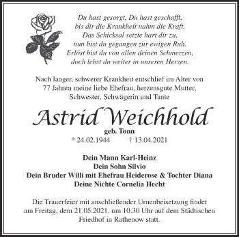 Anzeige Astrid Weichhold