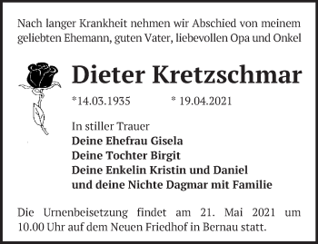 Anzeige Dieter Kretzschmar