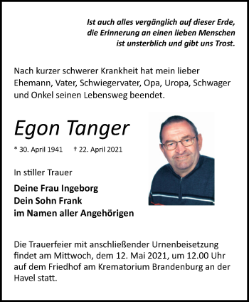 Anzeige Egon Tanger