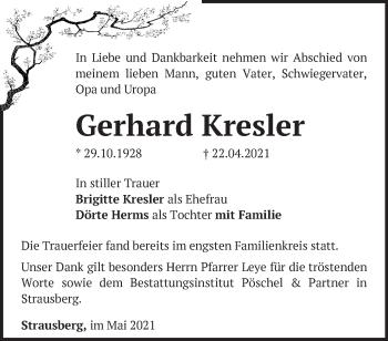 Anzeige Gerhard Kresler