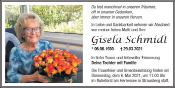 Anzeige Gisela Schmidt