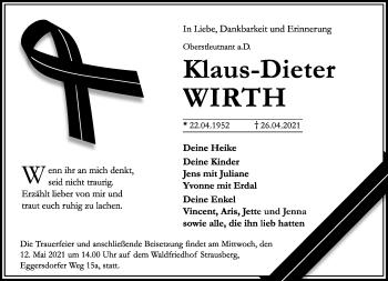 Anzeige Klaus-Dieter Wirth