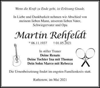 Anzeige Martin Rehfeldt