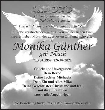 Anzeige Monika Günther