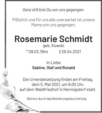 Anzeige Rosemarie Schmidt