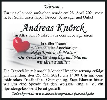 Anzeige Andreas Knörck