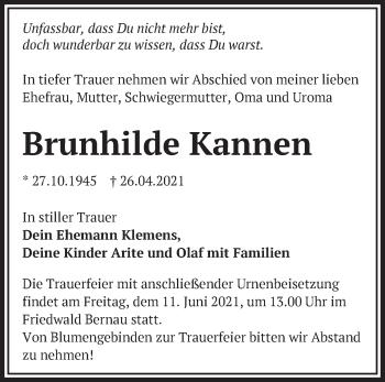 Anzeige Brunhilde Kannen