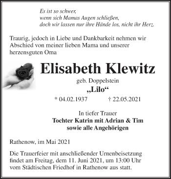 Anzeige Elisabeth Klewitz