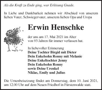 Anzeige Erwin Henschke