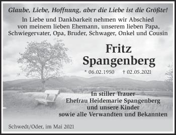 Anzeige Fritz Spangenberg