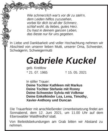 Anzeige Gabriele Kuckel