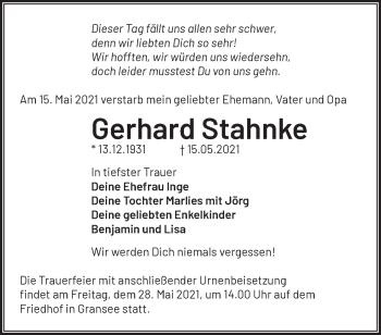 Anzeige Gerhard Stahnke