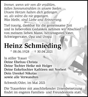 Anzeige Heinz Schmieding