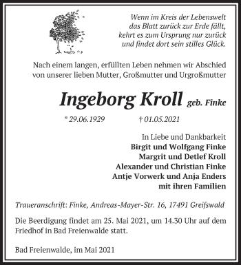 Anzeige Ingeborg Kroll