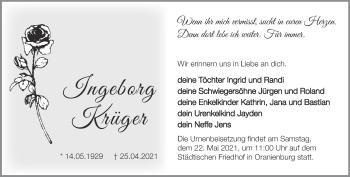 Anzeige Ingeborg Krüger