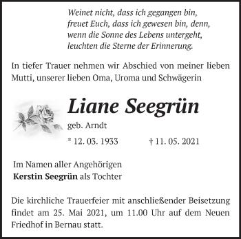 Anzeige Liane Seegrün