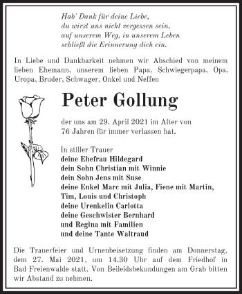 Anzeige Peter Gollung