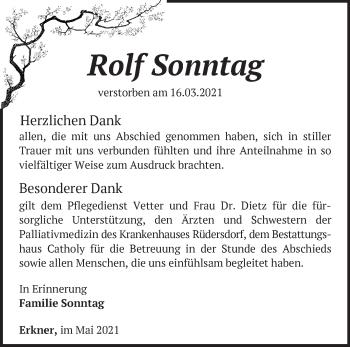 Anzeige Rolf Sonntag