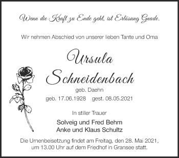 Anzeige Ursula undSchneidenbach