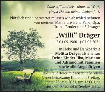 Anzeige Willi Dräger