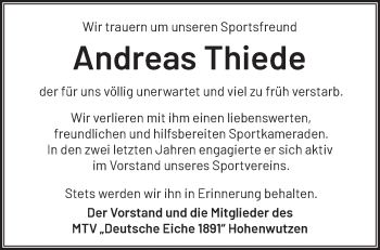 Anzeige Andreas Thiede