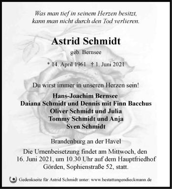 Anzeige Astrid Schmidt