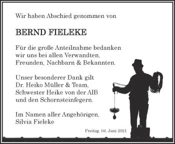 Anzeige Bernd Fieleke