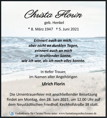 Anzeige Christa Florin