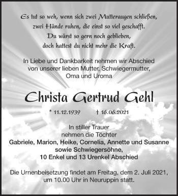 Anzeige Christa Gertrud Gehl