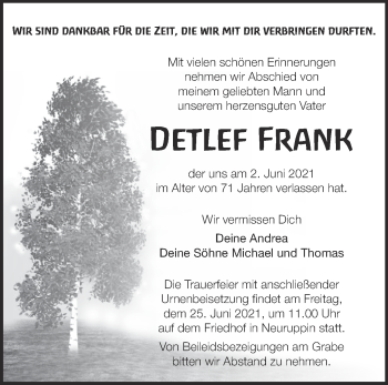 Anzeige Detlef Frank