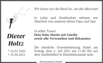 Anzeige Dieter Holtz