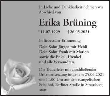 Anzeige Erika Brüning