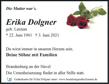 Anzeige Erika Dolgner