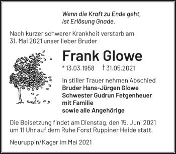 Anzeige Frank Glowe