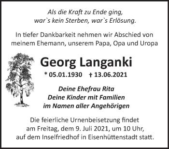 Anzeige Georg Langanki