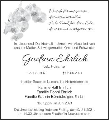Anzeige Gudrun Ehrlich