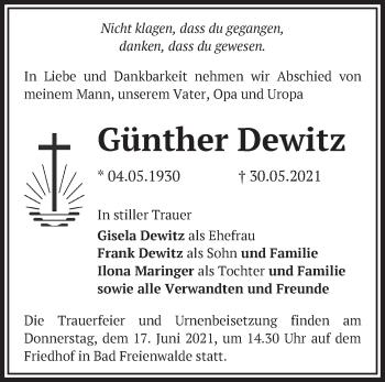 Anzeige Günther Dewitz